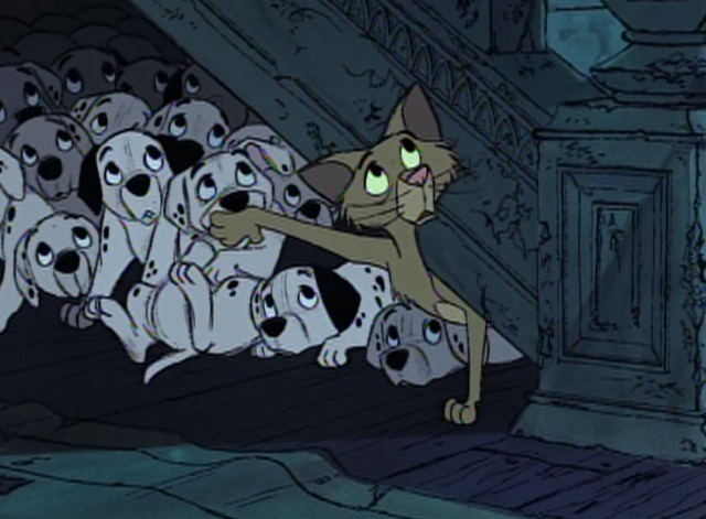 101 Dalmatians - Sgt. Tibs cat and puppies hide under staircase