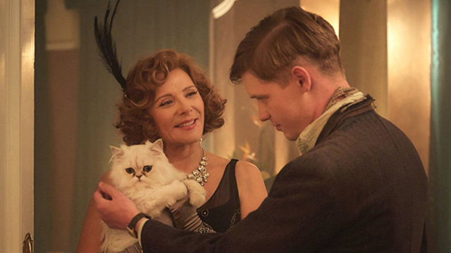 Agatha Christie's The Witness for the Prosecution - Emily Kim Cattrall introducing white Persian cat Mimi to Leonard Billy Howle