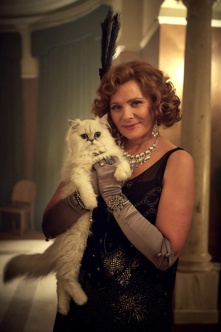 Agatha Christie's The Witness for the Prosecution - white Persian cat Mimi being held by Emily Kim Cattrall