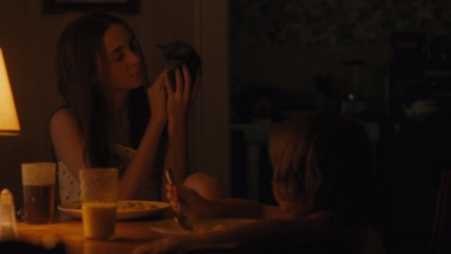 Ain't them Bodies Saints - Ruth Rooney Mara holding up gray kitten at table