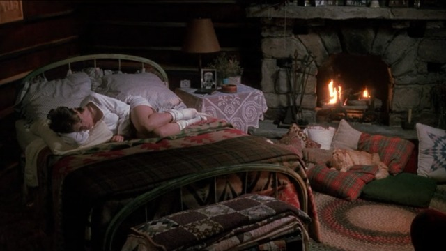 Always - orange Maine Coon cat Linda Blair lying on pillow by fireplace with Holly Hunter in bed