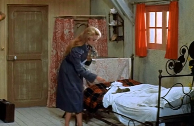 And God Created Woman - Brigette Bardot says goodbye to kitten on bed