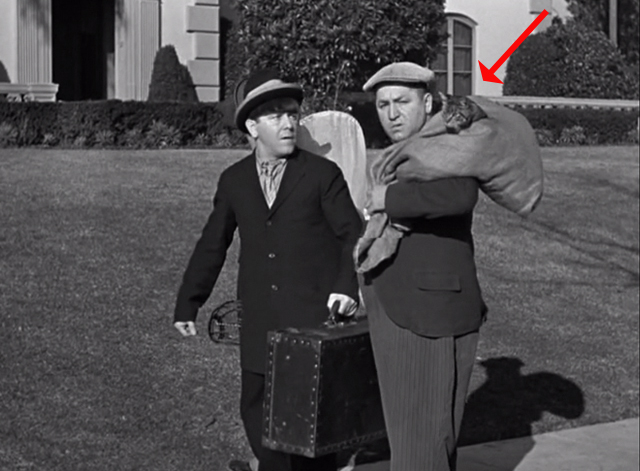 Ants in the Pantry - Moe with Curly Howard holding bag with tabby cat head sticking out