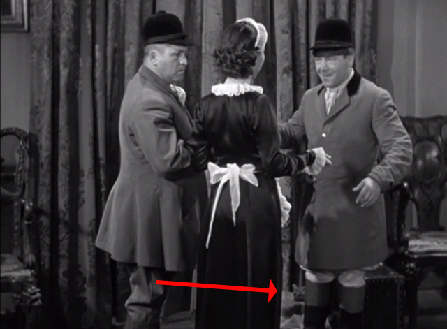 Ants in the Pantry - Moe Howard hitting on maid with Curly Howard and bag with tabby cat head sticking out