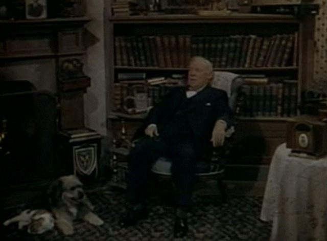 Apartment for Peggy - Nicodemus dog and cat lying by fireplace near Edmund Gwenn