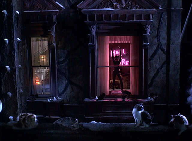 Batman Returns - cats around window with Catwoman Michelle Pfeiffer