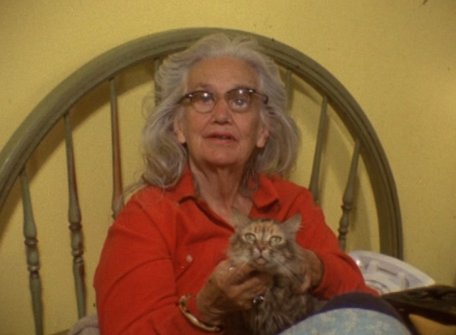 The Beales of Grey Gardens - tabby cat Pippy on bed held by Edith Bouvier Beale