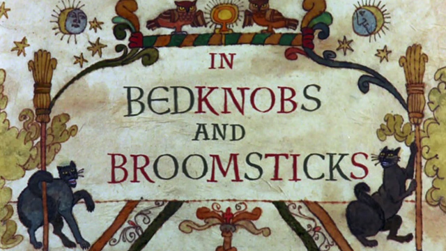 Bedknobs and Broomsticks - black cat drawings on opening title card