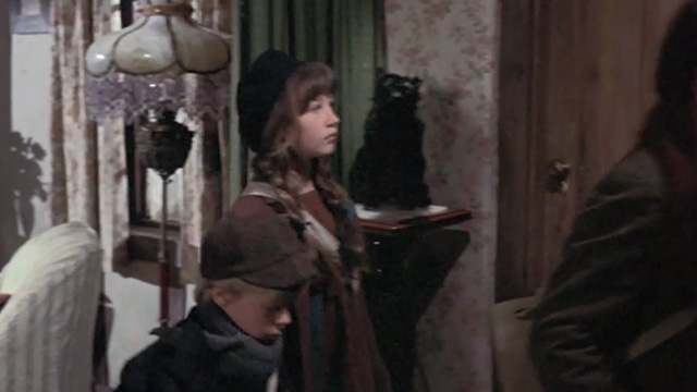 Bedknobs and Broomsticks - ragged black cat Cosmic Creepers stuffed double on stand behind children