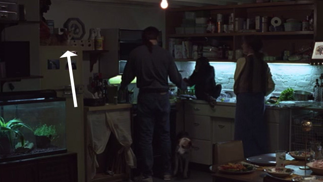 Being John Malkovich - cat on top of refrigerator in kitchen with Craig John Cusack and Lotte Cameron Diaz