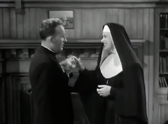 The Bells of St. Mary's - kitten being held by Father O'Malley Bing Crosby and petter by Sister Benedict Ingrid Bergman