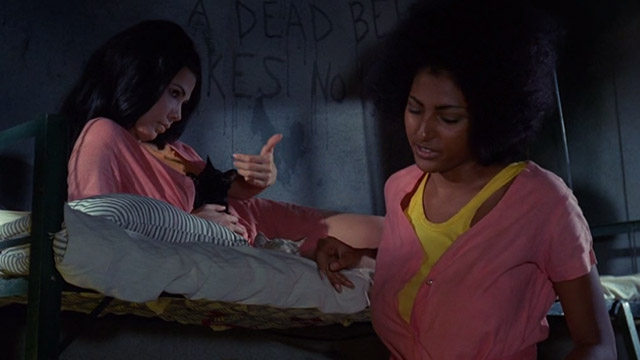 The Big Doll House - Ferina Gina Stuart with black kitten and white and colored cat on bunk beside Grear Pam Grier