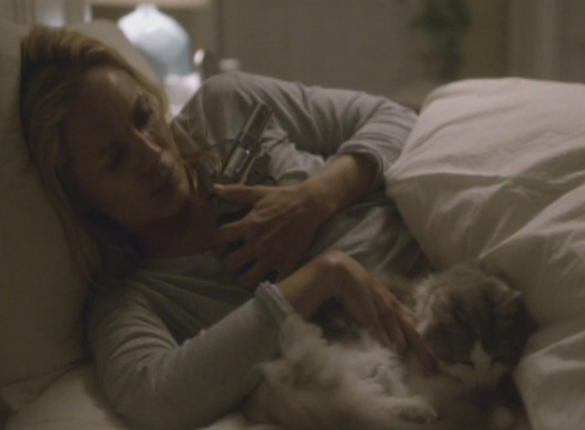 Big Driver - Tess and cat Felix in bed