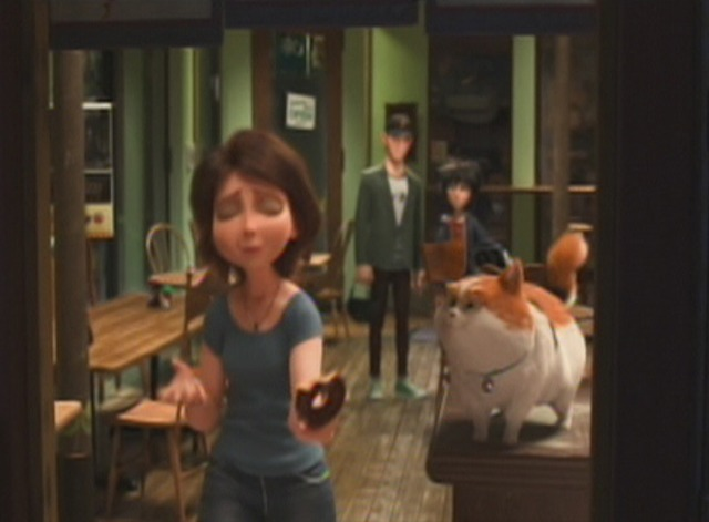 Big Hero 6 - bobtail cat Mochi and Aunt Cass eating donut