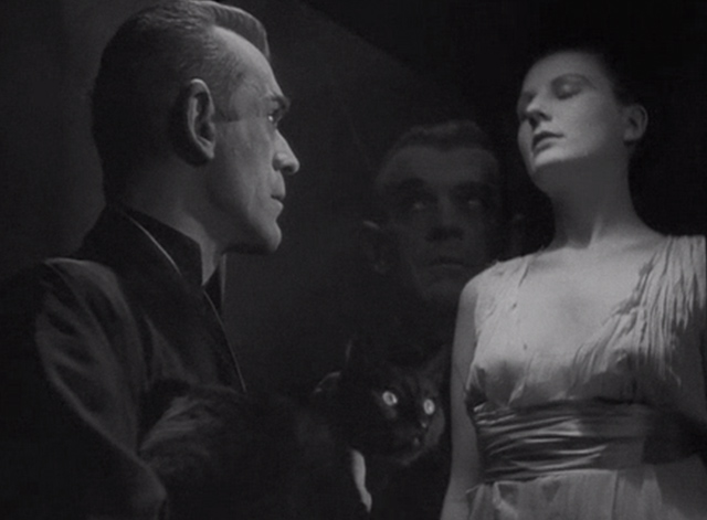 The Black Cat 1934 - Poelzig Boris Karloff looking at woman in glass while carrying black cat