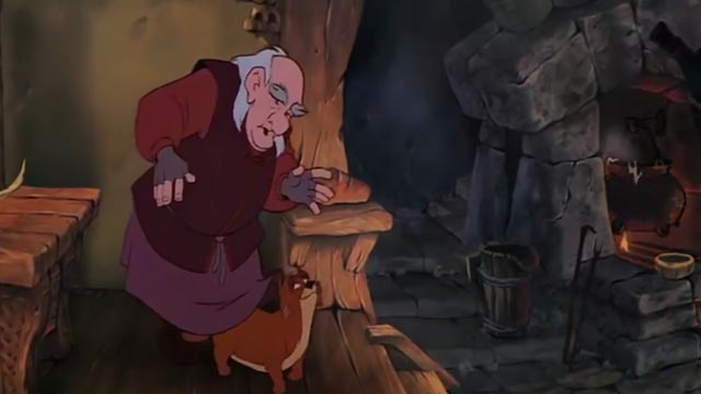 The Black Cauldron - orange and white Cat walking between Dallbin's legs