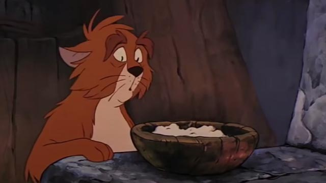 The Black Cauldron - orange and white Cat eyeing bowl of food warily