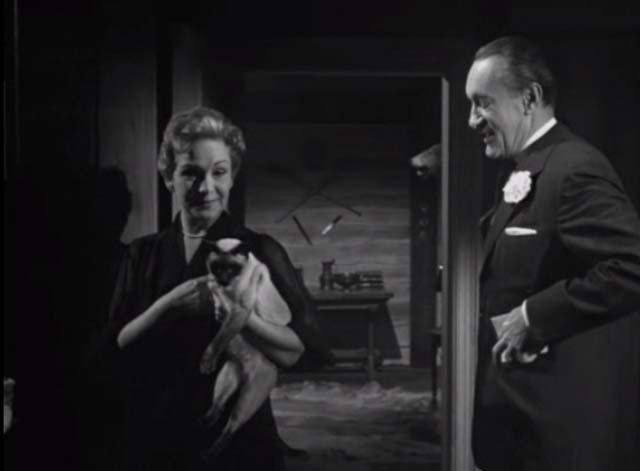 Bluebeard's Ten Honeymoons - Jeanette Jean Kent holding Siamese cat with Henri George Sanders