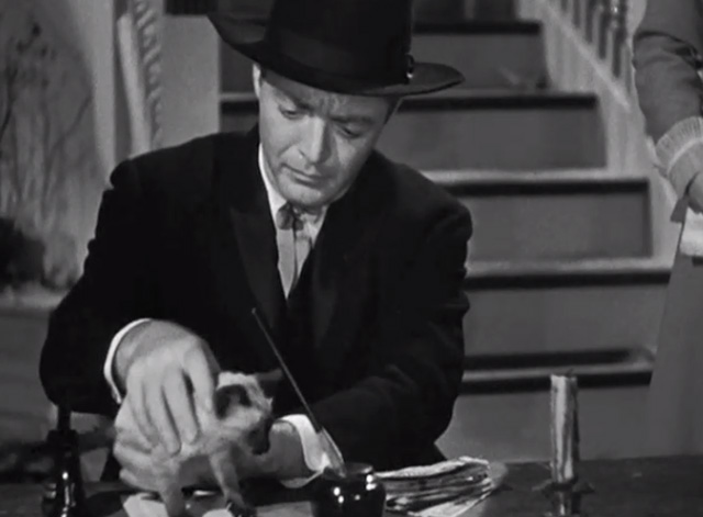 The Boogie Man Will Get You - Dr. Arthur Lorencz Peter Lorre with Siamese kitten on desk