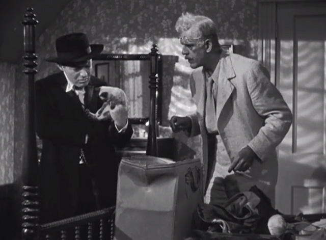 The Boogie Man Will Get You - Dr. Arthur Lorencz Peter Lorre holding Siamese kitten with Dr. Billings Boris Karloff