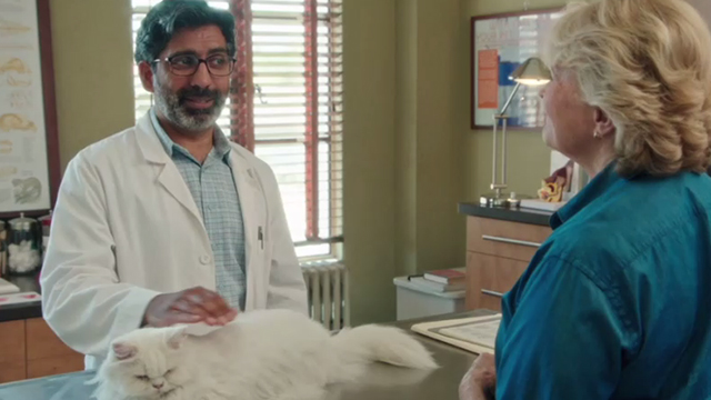 Book Club - white Persian cat Ginsburg on veterinarian Ravi Kapoor table with Sharon Candice Bergen