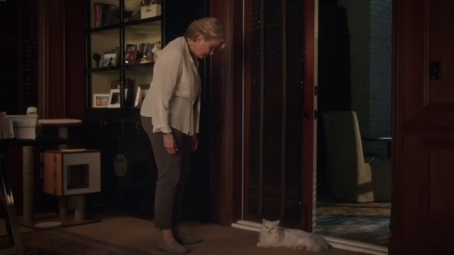 Book Club - white Persian cat Ginsburg lying next to doorway with Sharon Candice Bergen