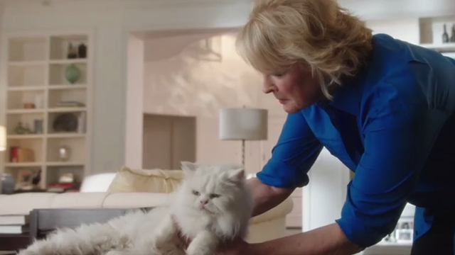 Book Club - white Persian cat Ginsburg being picked up by Sharon Candice Bergen
