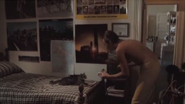 Breaking Away - tabby cat Fellini Jake sitting on bed with Dave Dennis Christopher and food