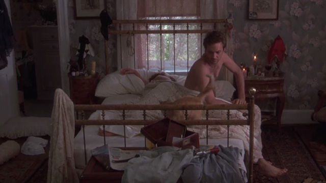 Bull Durham - long-haired ginger cat on bed with Annie Susan Sarandon and Crash Kevin Costner