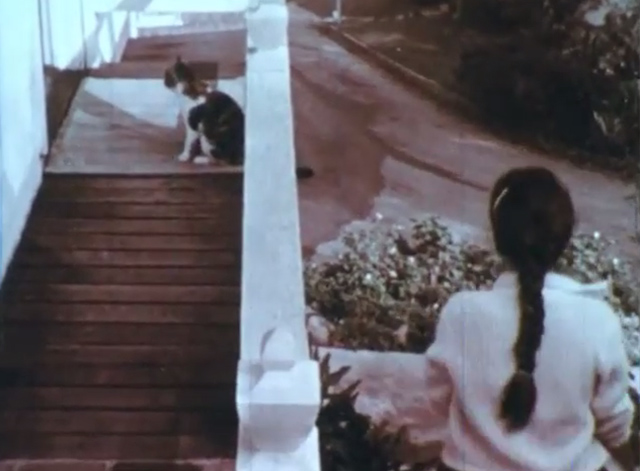 Care of Pets - calico cat outside door as girl Annette goes to school