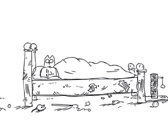 Cat Man Do - Simon's Cat looking at Simon in bed