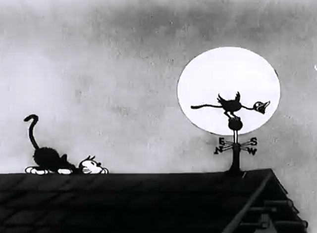 Disney Silly Symphony The Cat's Out - cat stalking nightingale