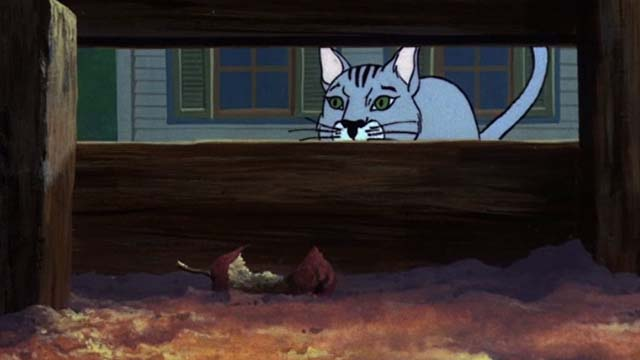 Charlotte's Web - gray cat looking through slats into pig pen