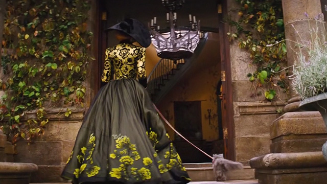 Cinderella live action - grey Persian cat Lucifer walking into house with Stepmother Lady Tremaine Cate Blanchett