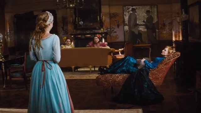 Cinderella live action - grey Persian cat Lucifer lying on chaise lounge with Stepmother Lady Tremaine Cate Blanchett