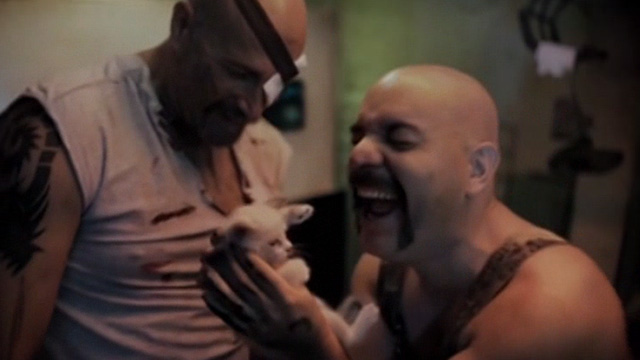 The Corpse Grinders 2 - Ted Ricardo Pastor and Bill Manuel Rodriguez playing with Siamese kitten