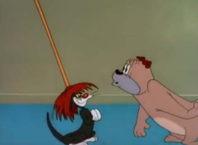 The Counterfeit Cat - black cat wearing mop on head with shocked bulldog