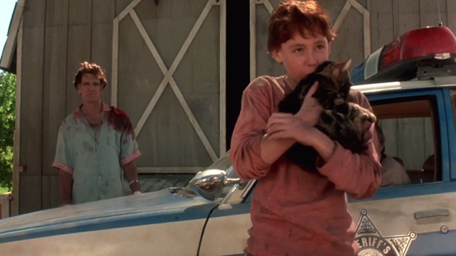 Critters - Brad Scott Grimes kissing Bengal tabby cat Chewie with Billy Green Bush in background