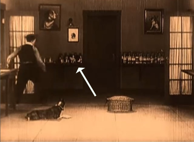Daydreams - Buster Keaton sees tuxedo cat on shelf