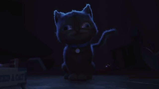 Decaf - scary tabby kitten MoeMoe in dark