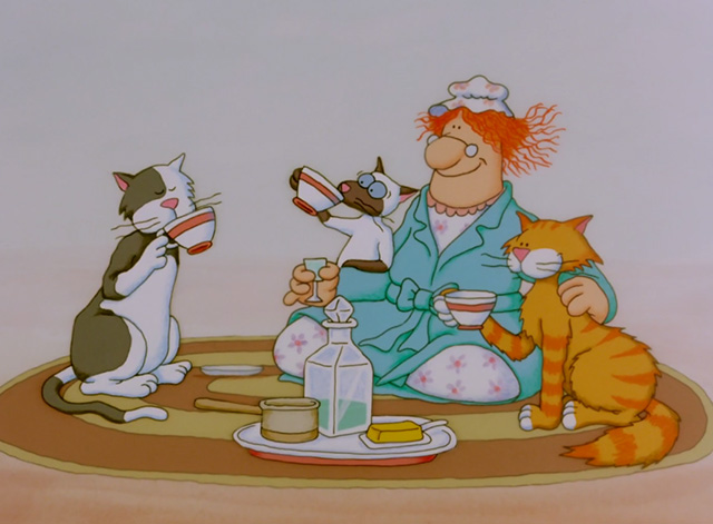 The Dingles - Doris Dingle with Siamese cat Donna, tuxedo Dale and orange tabby Dee Dee drinking milk and honey
