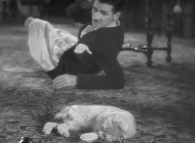 Dollar Dizzy - Charley Chase on floor with tabby cat