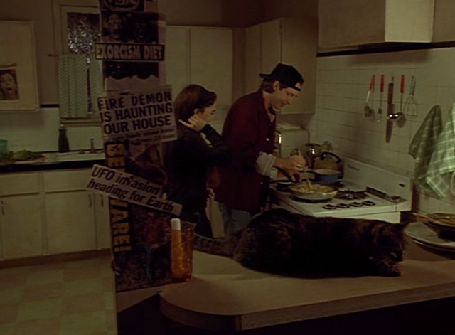 Doppelganger - Holly Drew Barrymore and Patrick George Newbern in kitchen with tabby cat Nathan on bar