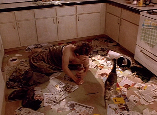 Doppelganger - Patrick George Newbern in kitchen with tabby cat Nathan on messy kitchen floor