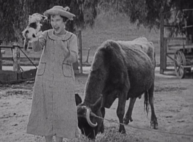 Down on the Farm - Louise Fazenda as farmer's daughter with calico kitten