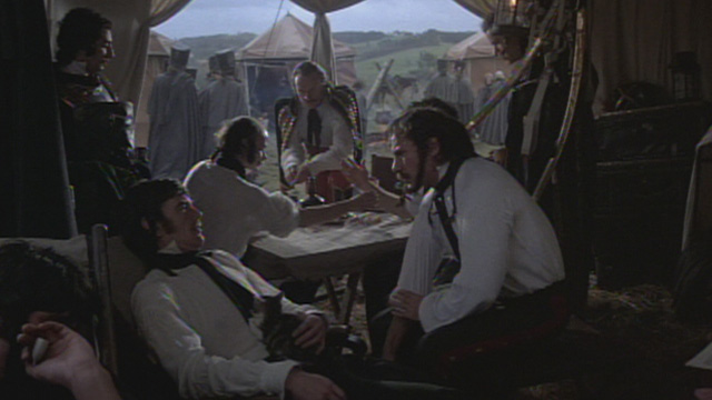 The Duellists - cat lying on officer's chest with Feraud Harvey Keitel sitting nearby