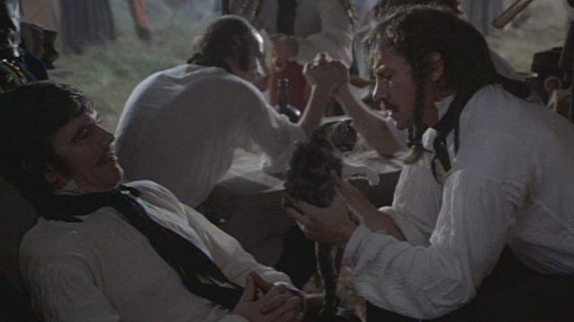 The Duellists - Feraud Harvey Keitel looking at kitten with officer