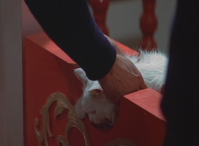Enter the Dragon - Roper reaches down to pick up white angora cat from guillotine
