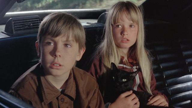 Escape to Witch Mountain - Winkie black cat with Tony and Tia in back of limo