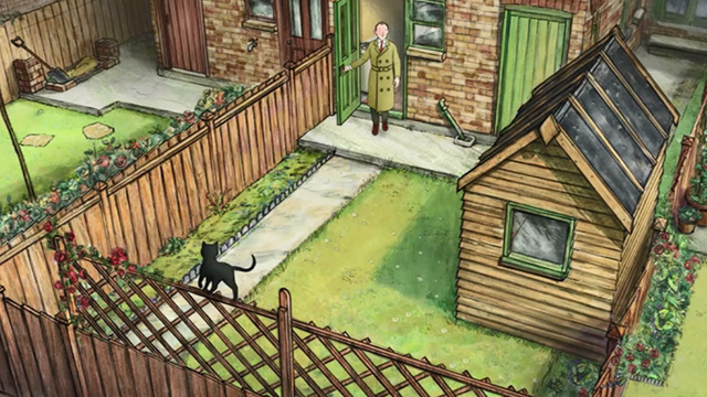 Ethel & Ernest - black cat on back yard fence